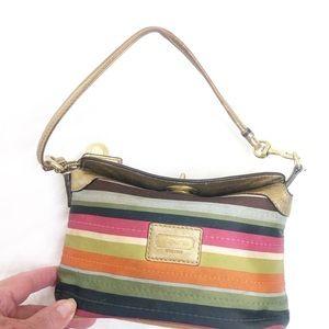 Coach Striped Wristlet Bag